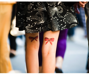 tattoo, legs, and bow image