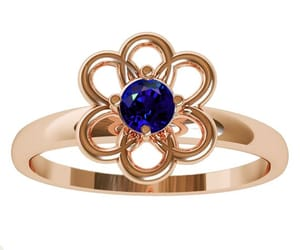 flower ring, blue sapphire ring, and leaves ring image
