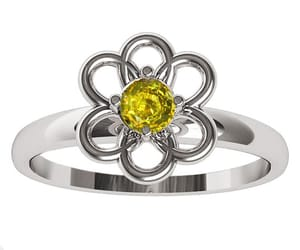 yellow flower, flower ring, and solitaire ring image