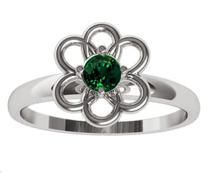 white gold, green ring, and leaves ring image