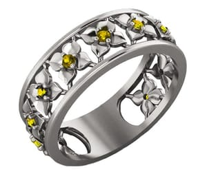 flower band, anniversary ring, and white gold image