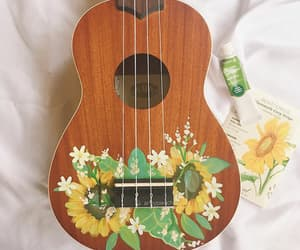 guitar, flower, and paint image