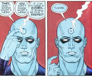 blue, dr manhattan, and comic book image