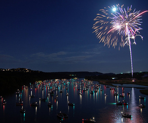 fireworks, photography, and lake image