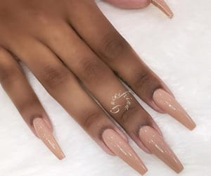 nails, Nude, and gel nails image