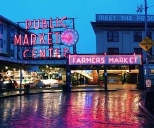 city, market, and rain image