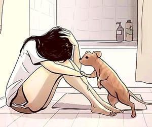 bathroom, dog, and girl image