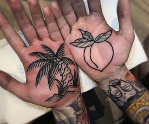 palm tattoo, palm tree, and peach image
