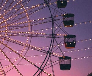 fairy lights, ferris wheel, and sky image