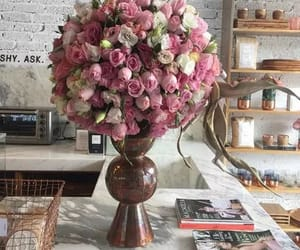 cafe, flowers, and pink image