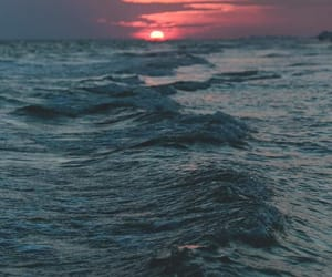 ocean, twilight, and pink sky image