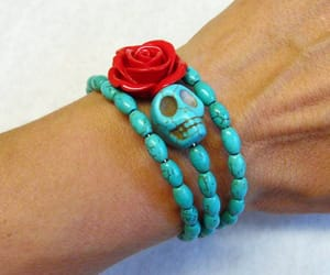 day of the dead, halloween skull, and sugar skull jewelry image
