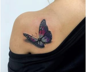 butterfly, shoulder tattoo, and tattoo image