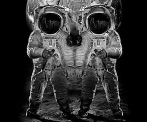 astronaut, black and white, and skull image