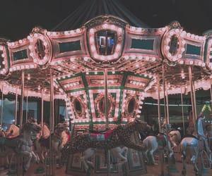 amusement park, night, and pink image
