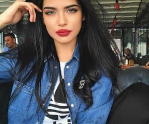black hair, blue eyes, and brunette image