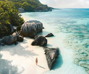 beach and seychelles image