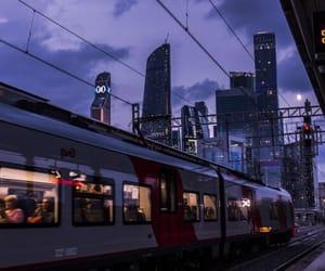 city, night, and purple image