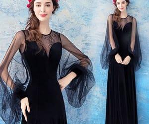 black dress, evening dress, and formal dress image