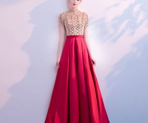 beading, long dress, and red dress image