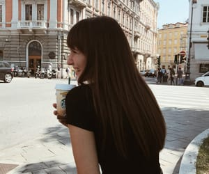 city, coffee, and girl image