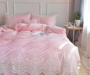 bedding, pink, and bedroom image