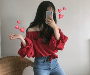 kfashion, red, and aesthetic image
