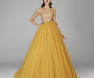 designer, dress, and gold image