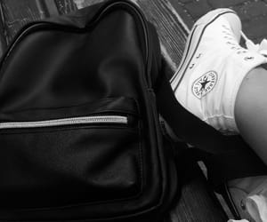 black and white, convers, and backpack image