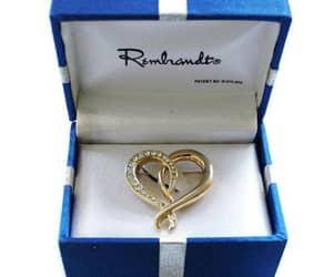 heart jewelry, gold tone brooch, and rhinestone pin image