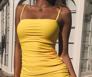 yellow, dress, and body image
