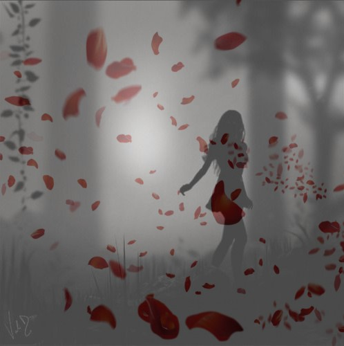 article, red petals, and silhouette image