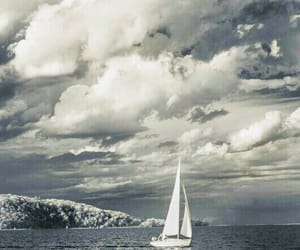 clouds, gray and white, and sail image