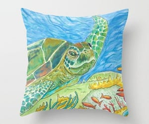 coral reef, sea turtle, and throw pillow image