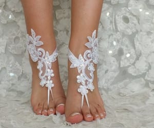 bangle, beach wedding, and lace sandals image