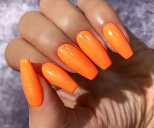 orange nail polish, tumblr inspo, and nails goals image