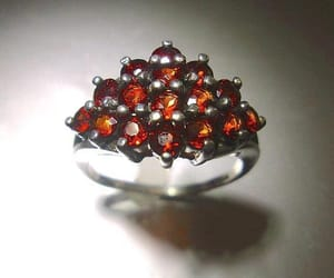 etsy, red gemstone ring, and sterling silver ring image