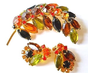 autumn color, gold tone, and brooch and earrings image