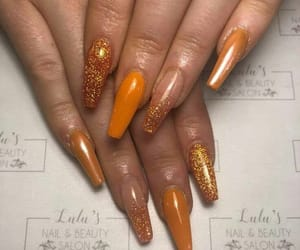 glitter, nails, and orange image