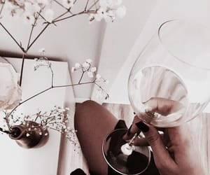 wine, flowers, and drink image