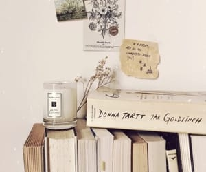 book, candle, and books image
