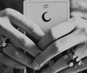 card, hands, and moon image