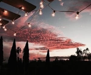 sunset, fairy lights, and view image