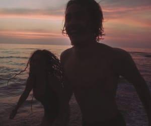 sunset, love, and beach image