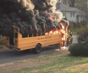 fire, bus, and grunge image