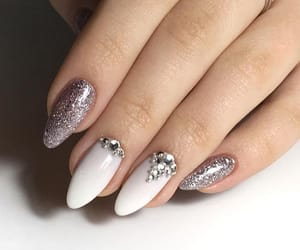 glitter, long nails, and white image