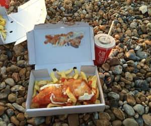 beach, brighton, and chips image