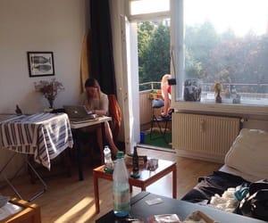 bedroom, desk, and drink image