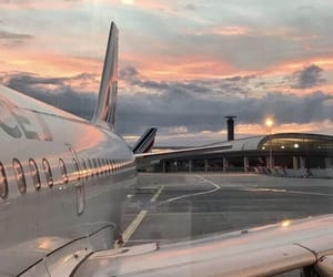 airplane, sunset, and travel image