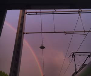 rainbow, train station, and violet image